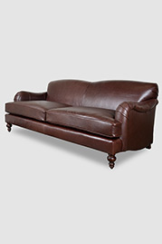 Basel tight back English roll arm sofa in Firenze Oak leather