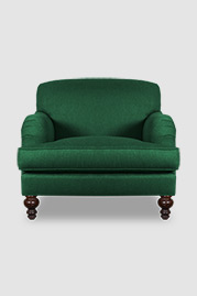 Basel tight back English roll-arm chair in Ludlow Pine stain-proof green fabric