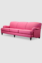 Basel sofa in custom pink fabric