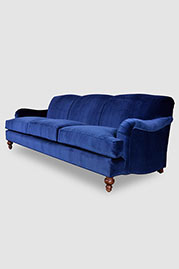Basel sofa in Como Indigo velvet fabric