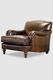 Basel tight-back English roll arm chair in Brompton brown leather
