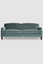 Basel tight-back English roll arm sofa in Cannes Silver Sage velvet fabric
