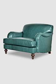 Basel tight-back English roll-arm chair-and-a-half in blue leather