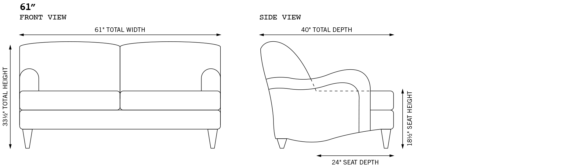 Tight Back English Roll Arm Sofas Armchairs