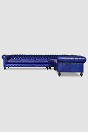 Higgins radius-corner sectional in Raven Indigo leather
