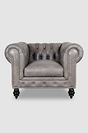 Higgins Chesterfield armchair in Dante Smoke grey leather