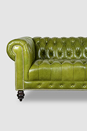 Higgins Chesterfield with tufted seat in Matera Apple Lime green leather