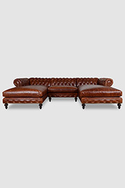 Higgins dual-chaise Chesterfield sectional in Brompton Chestnut leather