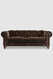 Higgins Chesterfield with wide tufting in Como Brown velvet
