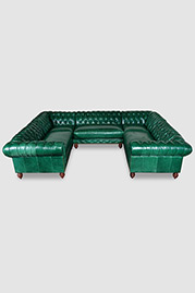 Higgins Chesterfield sectional in Mont Blanc Emerald leather