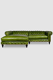 Higgins Chesterfield chaise sectional in Cortina Green leather