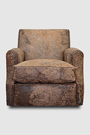 Howdy swivel armchair in Ragtime Mocha destroyed leather