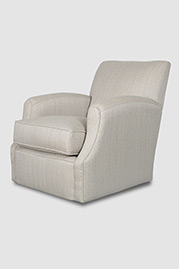 Howdy armchair with swivel base in Posh Ash fabric