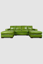 Cole dual-chaise sectional in Absolute Kiwi green leather