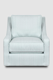 Gracie swivel pillow-back armchair in Posh Aqua stainproof fabric