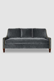 Gracie slope arm sofa will cushion back in Como Dark Grey velvet with nail head trim