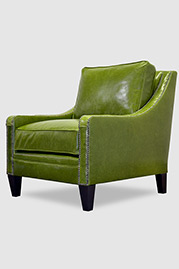 Gracie armchair in green leather