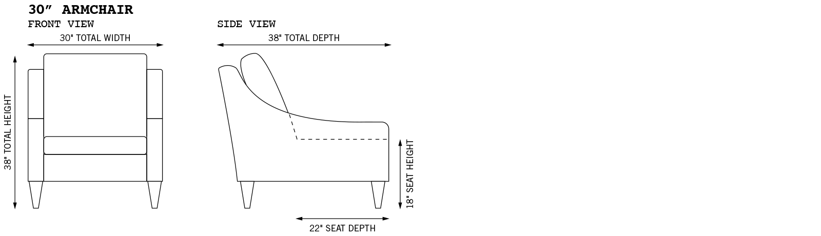 Average Arm Chair Dimensions