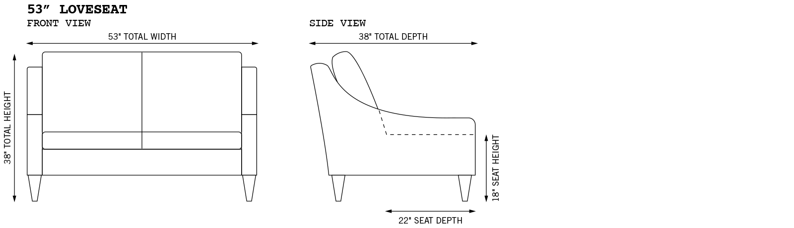 Gracie Loveseat Dimensions