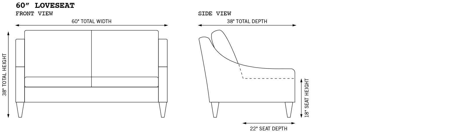Gracie Extended Loveseat Dimensions