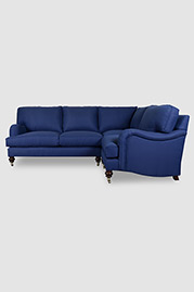 Blythe English roll arm sectional in Morada Regatta stain-proof fabric
