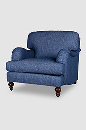 Blythe English roll arm armchair in Sunbrella Tailored Indigo fabric