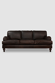 Blythe pillow back English roll arm sofa in Berkshire Bourbon brown leather