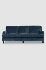 Blythe pillow back English roll-arm sofa in Thompson Wedgewood blue stain-proof velvet
