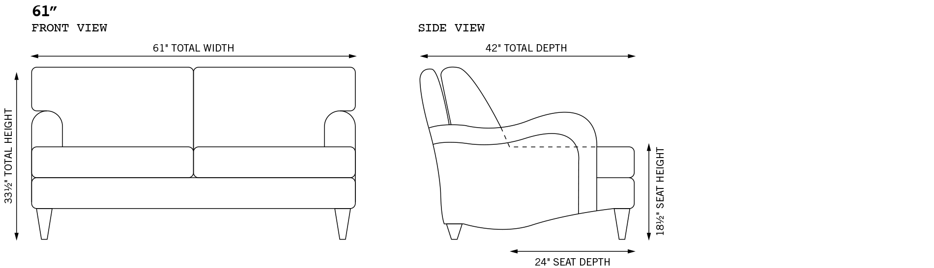 Blythe Loveseat Dimensions