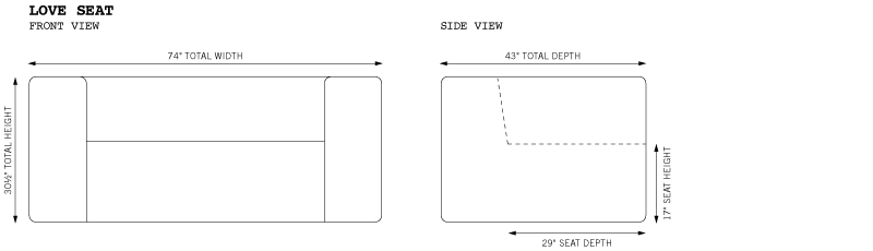 Johnny Love Seat Dimensions