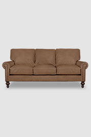 Didi sofa in Gaucho Pony 2475 brown leather with nail head trim