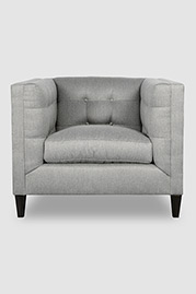 Atticus tuxedo armchair in Sunbrella Action Stone fabric
