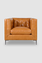 Atticus armchair in Dakota Modern Saddle with aluminum legs