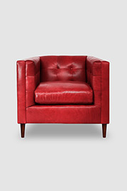 Atticus armchair in Echo Flame red leather