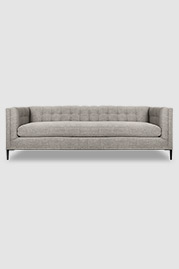 Atticus tuxedo sofa in Minetta Linen stain-proof fabric with bench cushion and black aluminum legs