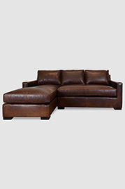 Palmer sofa+chaise sectional in Pure Molasses leather