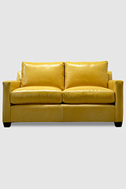 Palmer love seat in yellow leather