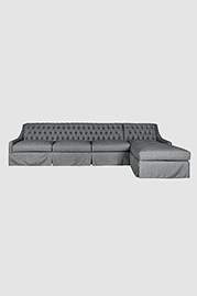 Lincoln sofa+chaise sectional in Tailored Smoke with dressmaker skirt