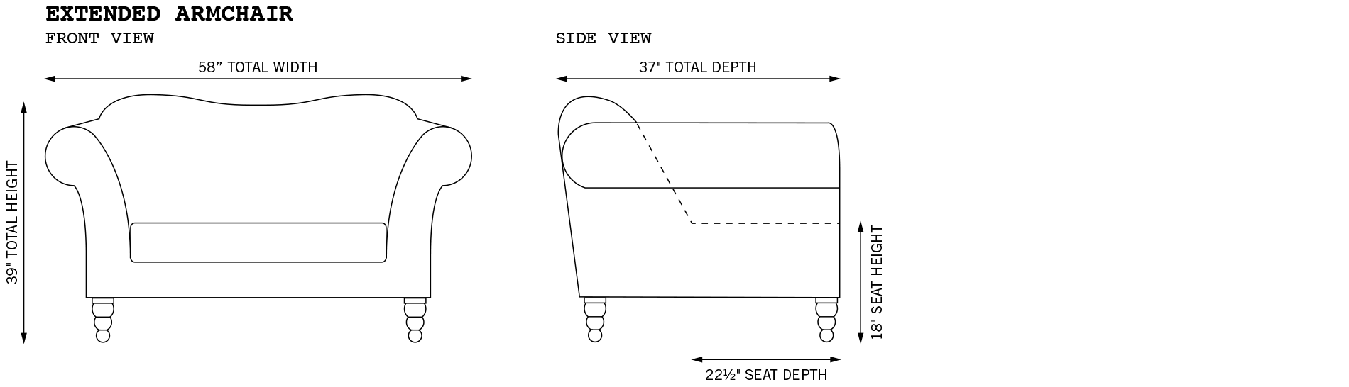 Watson Extended Armchair Dimensions