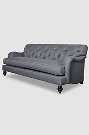 Alfie tufted English roll arm sofa in gray fabric