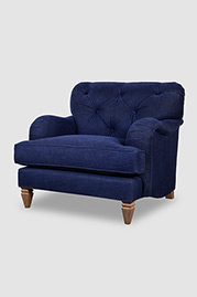 Alfie armchair in Martexin Waxed Canvas Navy with weathered oak legs