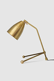 Rex brass desk lamp with spun brass shade