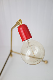 Rex brass desk lamp with gloss red socket