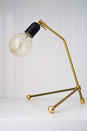 Rex brass desk lamp with matte black socket