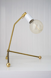 Rex brass desk lamp with gloss white socket