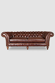 Lucille English Chesterfield sofa in Mont Blanc Bourbon leather