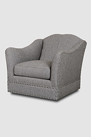 Vera armchair with swivel base in Loomis Charcoal fabric