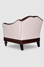 Vera armchair in Cortina Cigar leather and Notion Creampuff fabric