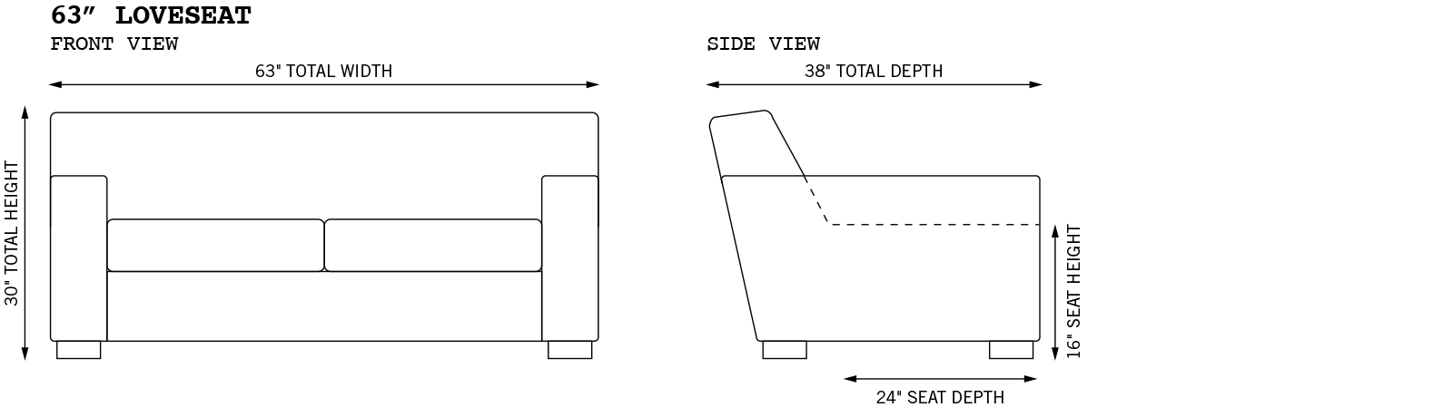 Bobby Loveseat Dimensions