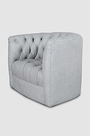 Oliver tufted barrel chair in Saloon Dove Grey leather